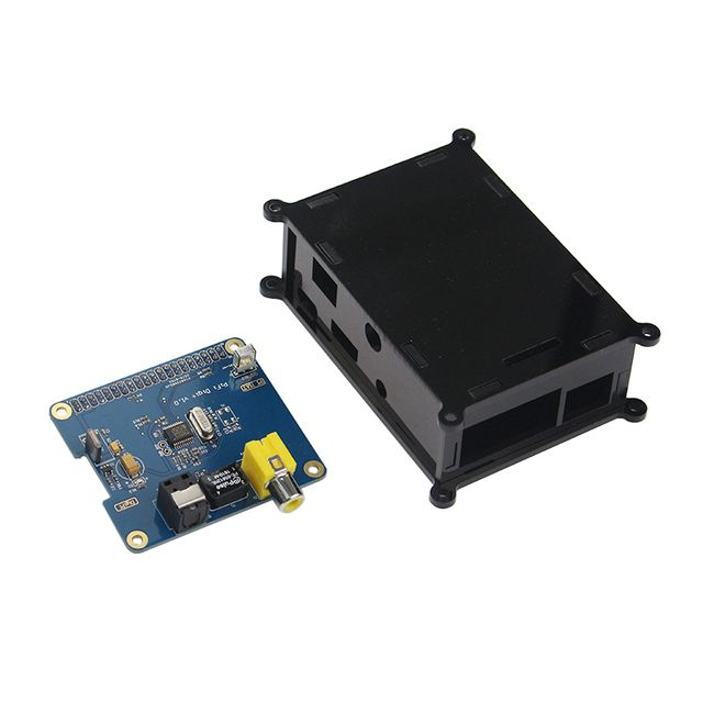 Raspberry Pi 3 HIFI DiG Digital Sound Card Board I2S SPDIF + Black Acrylic Case for Raspberry Pi 2 Model B / B+