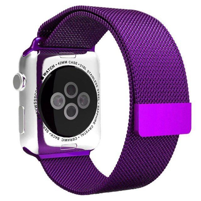 Hot Purple Milanese Loop Stainless Steel Mesh Bracelet Strap Accessories for Apple Watch All Models