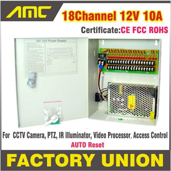 High Quality CE RoHS Certification CCTV power supply box 18Channel 12V 10A for 18 CH DVR CCTV Camera Access Control power supply
