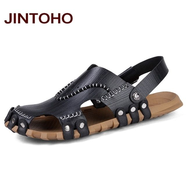 JINTOHO High Quality Men Leather Sandals Summer Beach Shoes Casual Men Sandals Beach Male Sandal Fashion Slides