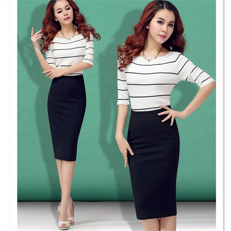 Black Bodycon Skirt 2019 Women European and American style Elastic Band High Waist Plus Size Midi Pencil Office Cotton Skirt