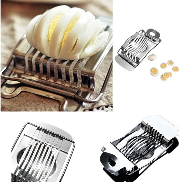 Wholesale 1Pcs Stainless Steel Boiled Egg Slicer Section Cutter Mushroom Tomato Cutter Kitchen Novelty Tool