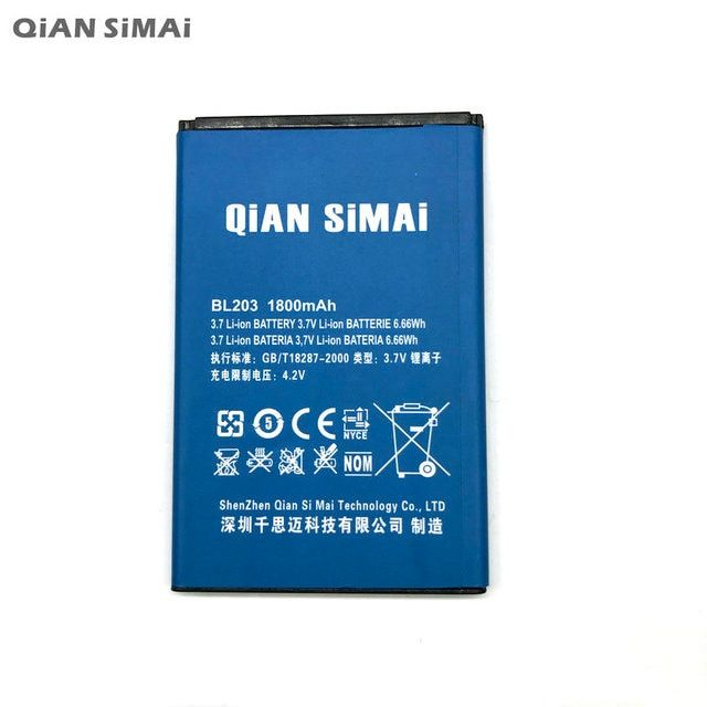 QiAN SiMAi 1800MAH BL203 Battery For Lenovo A66 A278T A365E A308T A369 A318T A385E BL-203 Phone+ Tracking Code
