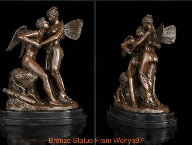 Art Deco Sculpture Romantic Lover Angels Nude Woman And Man Bronze Statue Signed QQ EW