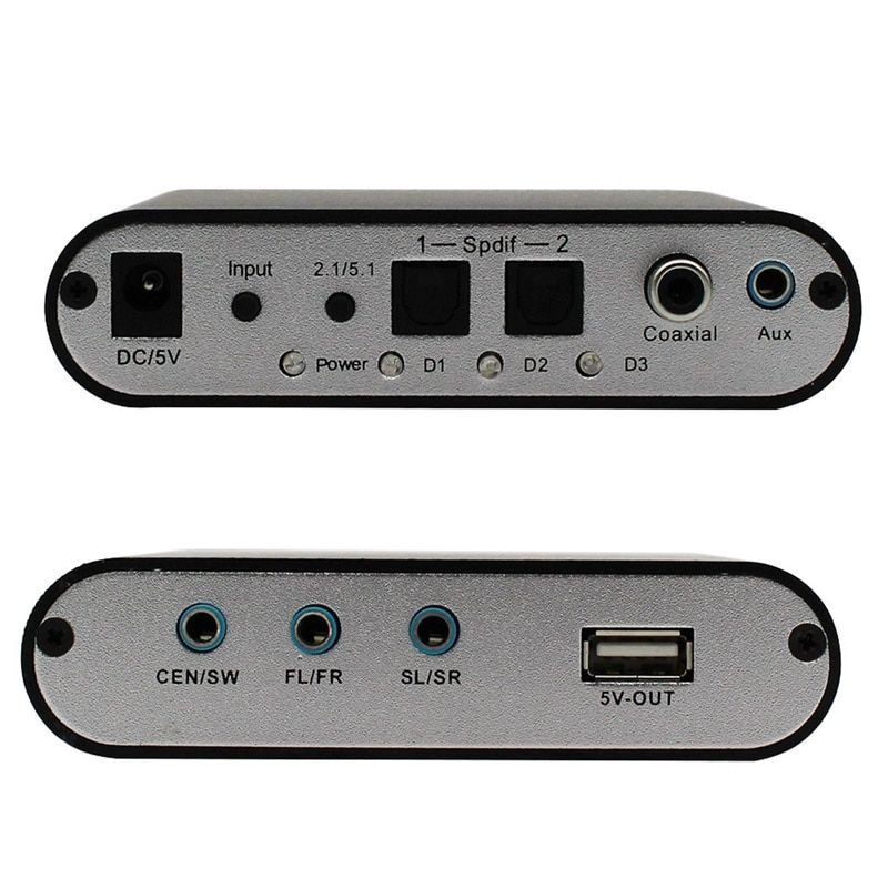 1 Piece Only New Digital Audio Decoder 5.1 Audio Gear DTS/AC-3/6CH Digital Audio converter LPCM To 5.1 Analog Output 2.1 DVD PC