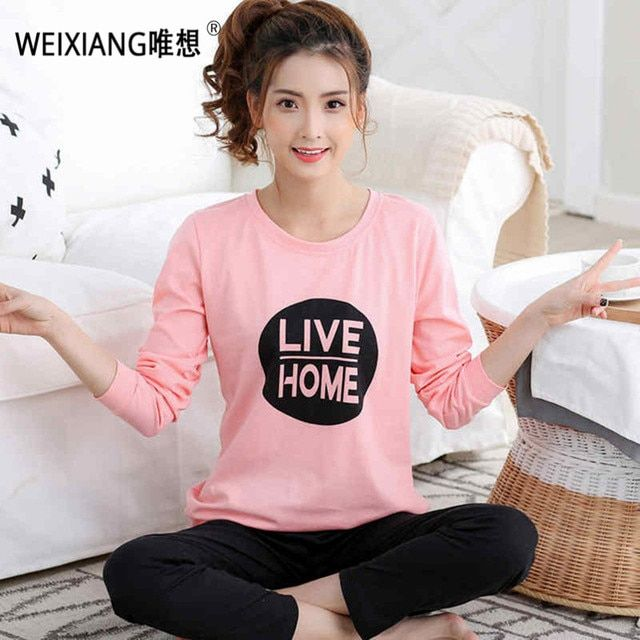 New 2016 Fashion Women Lovely Leisure Suits 100% Cotton Sleepwear Women Cartoon Pajamas Casual Long-sleeved Spring Pyjamas Women