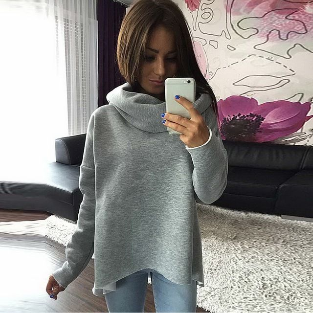 Autumn Winter Sweatshirt Women Hoodies 2017 Scarf Collar Hoodies Long Sleeve High Neck Solid Irregular Sweatshirts Pullover Top