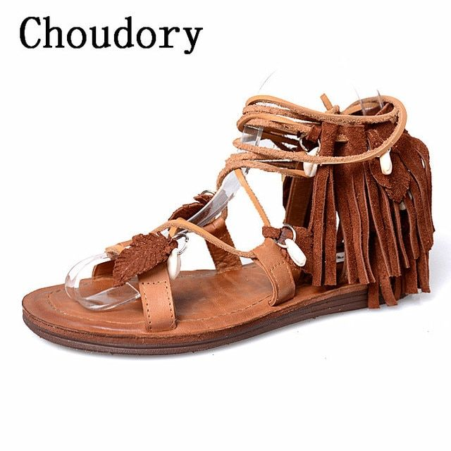 Choudory 2017 Fringe Gladiators Sandal Women Shoes Casual Cross Tied Women Flat Summer Shoes Casual Sandals Women