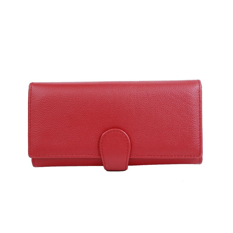 FancyStyle Best Women Trifold RFID Blocking Wallet Genuine Leather Clutch Purse Checkbook Phone Credit Card Holder Red
