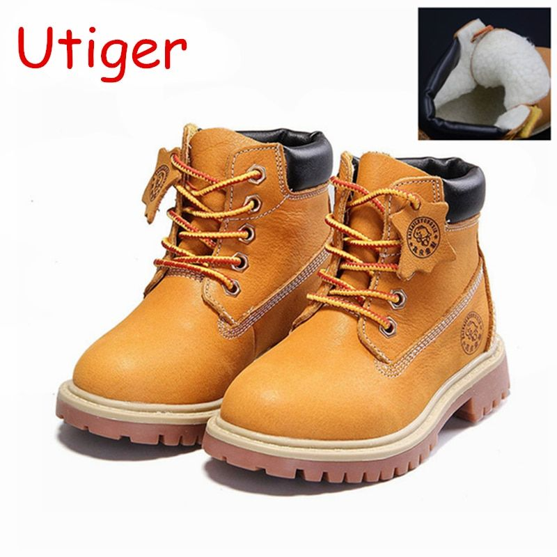Genuine Leather Girls Boys Boots Children Plush Boot kid Shoes fashion Baby Girls Boy Martin boots 2017 Winter Sneakers tx0652
