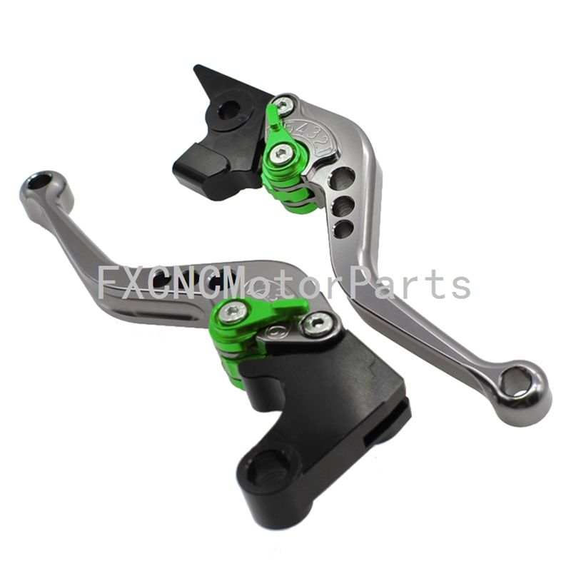 For Triumph TIGER 800 XC/XCX/XR/XRX 2015-2016 CNC Gray & Green Motorcycle Adjustable Clutch Brake One Pair Levers