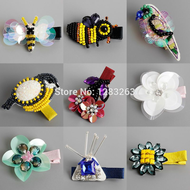 New Designed Girls Hairpins Cute Cartoon Handmade Simulated Insect Bird Flower Hair Clips for Child Kids Hair Accessories
