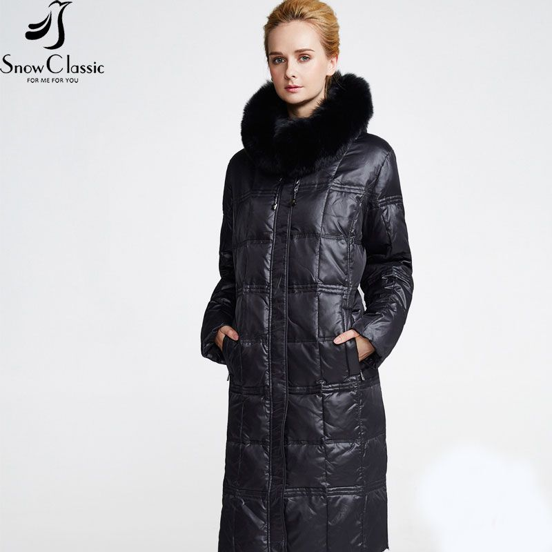 Snow Classic Women's Winter Jacket 2016 Plus Size 6xl Jackets Real Fox Fur Collar coats white duck down winter coat 12316