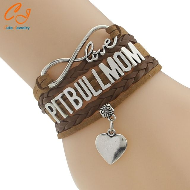 Drop Shipping Infinity Love Pitbull Mom Bracelet- Best Dog Pet Lover Friendship Gift for Women