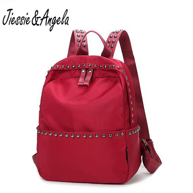 Jiessie & Angela casual girls backpack travel bags waterproof nylon school backpack women shoulder bags black and red  mochila