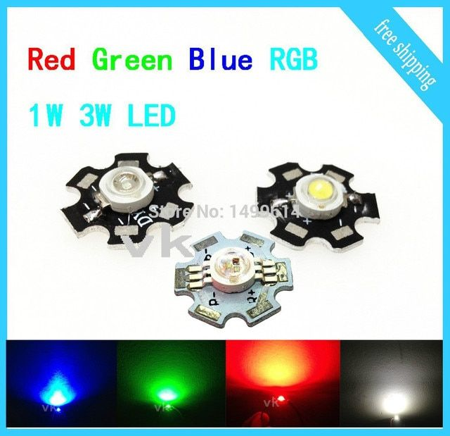 20 PCS LED1W 3W LED Chip High Power light with 20MM Star PCB emitter300mA 3.2~3.5V Cool White Warm White Red Green Blue RGB