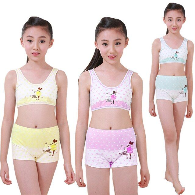 Girls Cosy Undies Puberty Children Teenagers Student Sport Set Pretty Girl Cotton Underwear Set Training Bras Vest n Panty Boxer