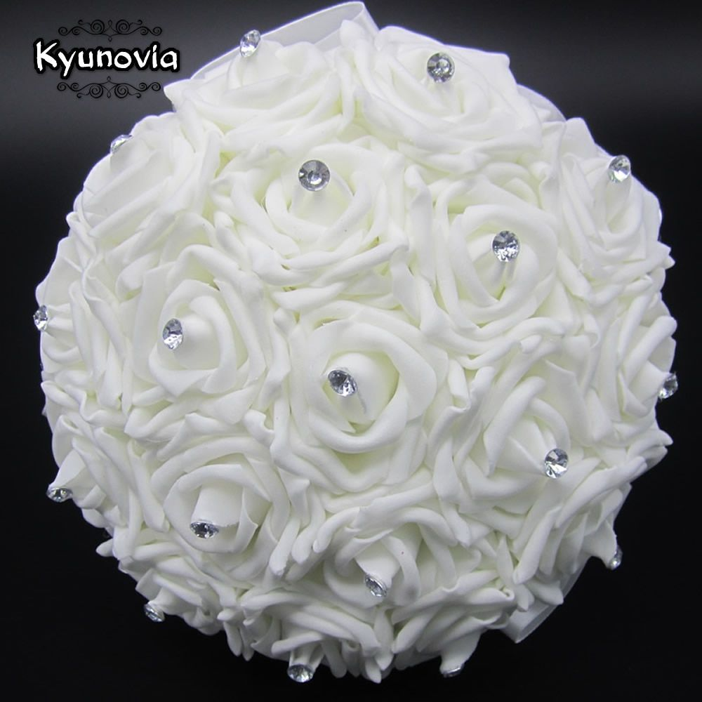 Kyunovia Lovely White Wedding Bouquet Bridal Bridesmaid Brooch Bouquet Rose Flower Bouquet Wedding Flowers Bridal Bouquets FE2