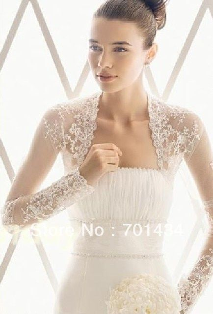 Custom long sleeves Lace Bridal Wedding bolero Jacket hot custom wedding bolero