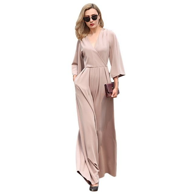 XXL!New Arrival Pant Jumpsuits 2016 Autumn Winter Women V-Neck 3/4 Sleeve Loose Style Wide Leg Casual Lady Jumpsuit Rompers