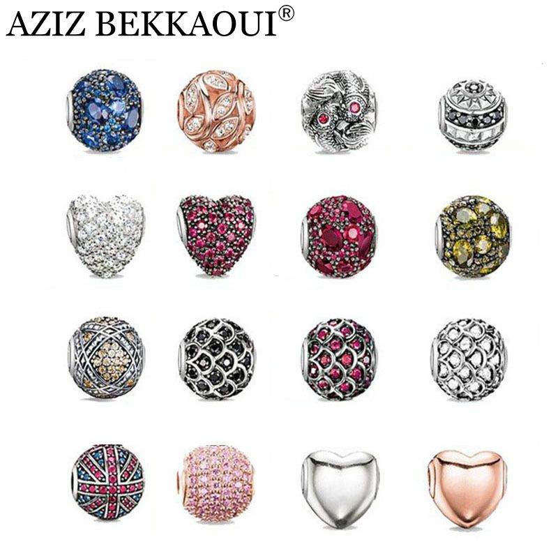New crystal beads fit for european DIY bracelets necklaces silver plated diy crystal heart cabochon charms women men jewelry