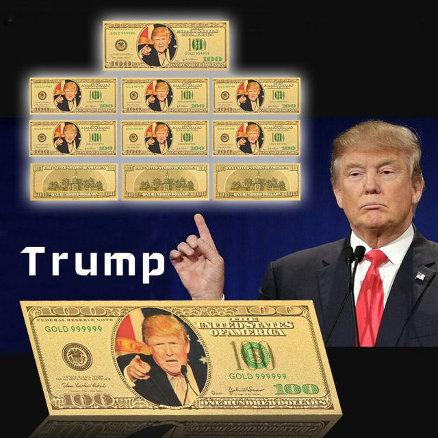 2016 American Gold Banknote Donald Trump The 45 American President Gold Plated Paper Money Worth Collection