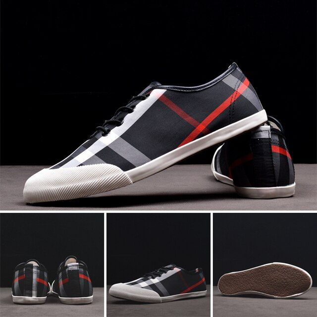 Hot sale men loafers plaid print slip on canvas shoes flat casual shoes driving mocassins business shoes size 39-44