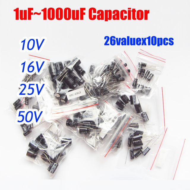 26valuesx10pcs=260pcs 10v/16v/25v/50v Aluminum Electrolytic Capacitor Assortment Kit 1uF -1000uF
