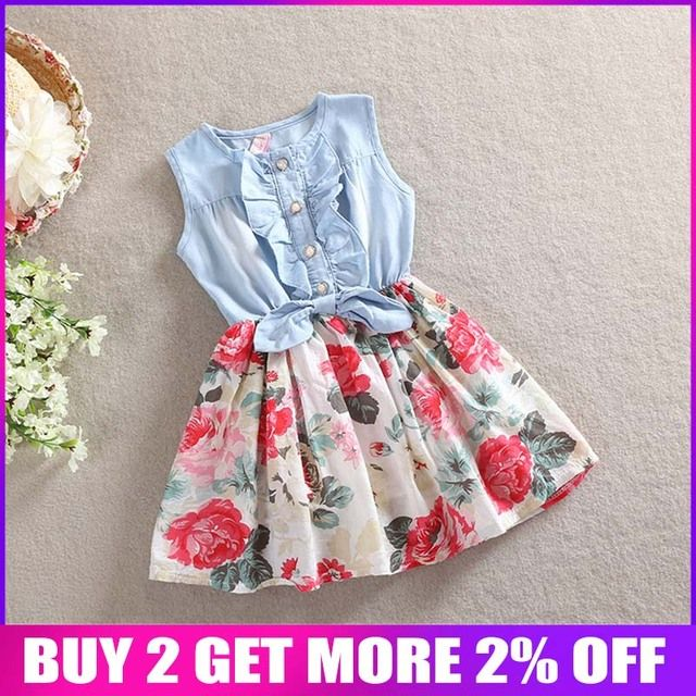 BibiCola 2018 baby girls flower party dress summer Floral clothing  toddler sleeveless cotton casual vest dresses Denim color