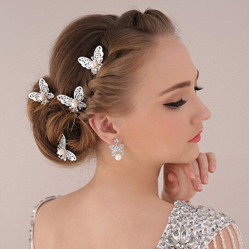 High Quality Hair Jewelry Accessories Wedding Bridal Bridesmaid Red White Metal Butterfly Hairpin Headpiece Hair Clip TiaraHP038