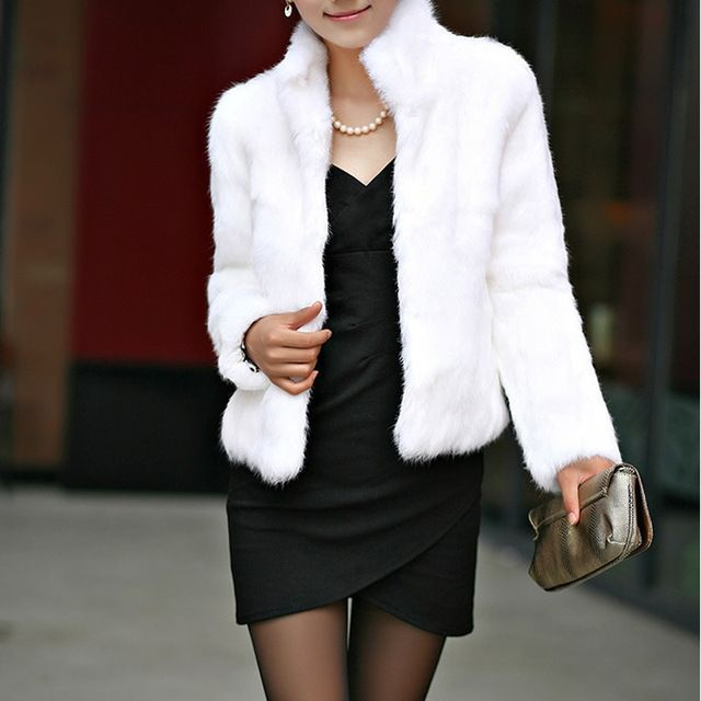 New Fox Faux Fur Mink Coat Women 2017 Winter Slim Short Female Overcoat Fake Fur white Coats MexCoat Mujer Female Russia Winter