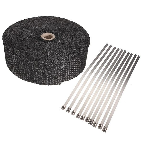 "2""x5m Exhaust Pipe Header Heat Wrap Resistant Downpipe 10 Stainless Steel Ties 5mx5cmx2mm"