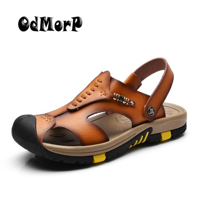 ODMORP New Summer Shoes Men's Leather Sandals Brown Casual Beach Sandals Slippers Flat Fashion Design Sandals Men Shoes
