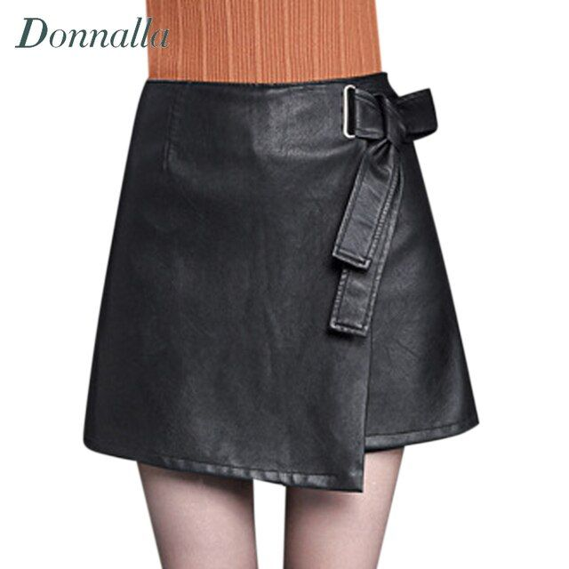 Women Skirts Streetwear Women Clothes Fashion Mini Solid Black Brand Solid Color Sashes Casual PU Leather Skirt