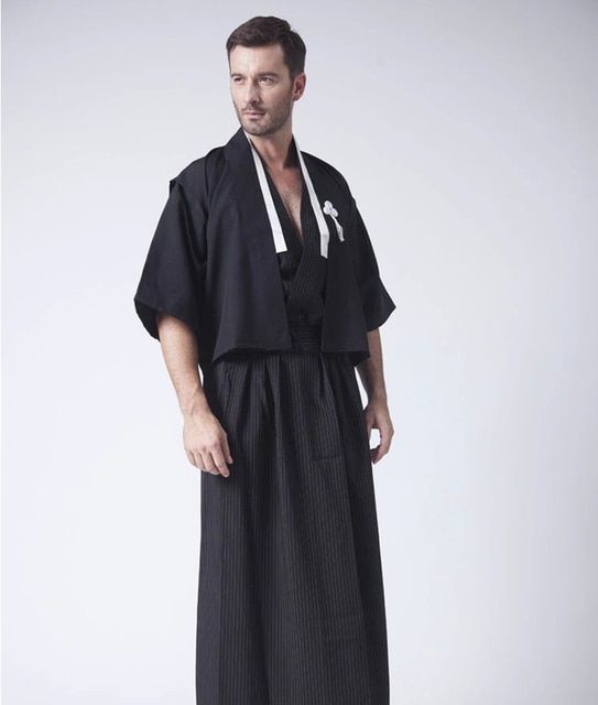 Black Vintage Japanese Men Kimono Haori Traditional Male Warrior Yukata Halloween Costume Performance Clothing One Size JK087