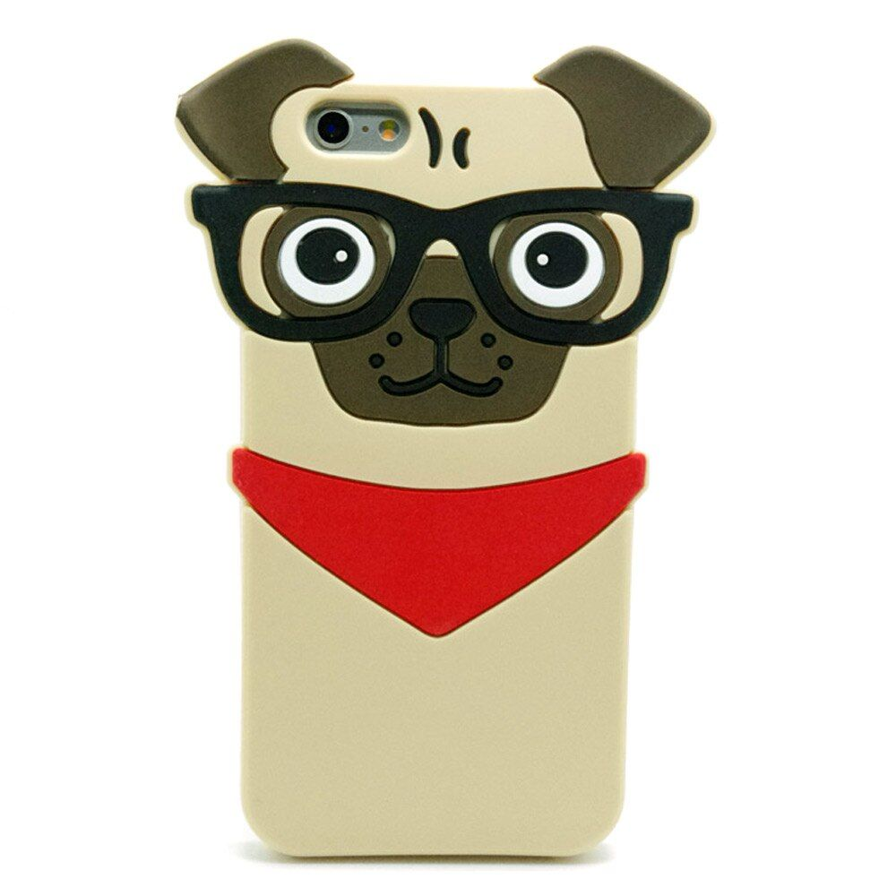 ZMDLDZSW Fashion 3D Pug Dog Protective Silicone Cover For iPhone 7 7plus 5 5s 5se 6 6s plus 8 plus Cute Cartoon Doggy Phone Case