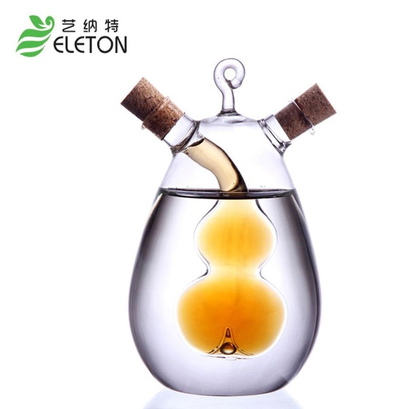 Kitchen Supplies Creative Oil and Vinegar Cruet Soy Sauce Vinegar Bottle With 2 Outlets Seasoning Bottle Glass Olive Oil Bottle
