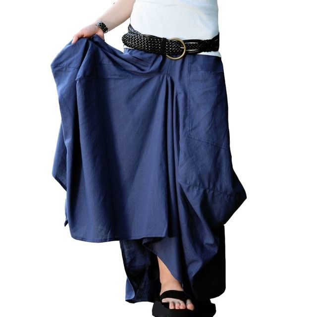 SERENELY Skirt Saias Femininas 2016 Solid Skirts Womens Original Design Skirt Big Pocket  Saia longa Maxi Casual Linen Skirt S06