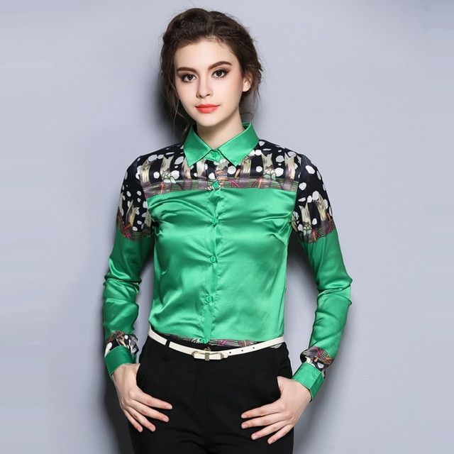 New 2016 Fashion European Style Turn-down Collar Print Long Sleeve Elegant Office Women Casual Blouse Shirt Plus Size Tops