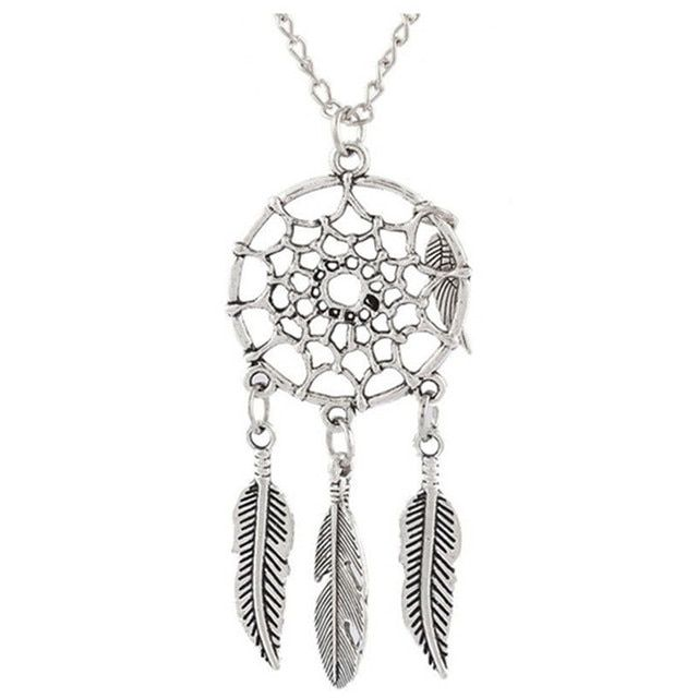 Attrape Reve Bijoux Femme Collier Plumes Pendentif Feuille Attrape-Reve Boho Vintage Dream Catcher Necklaces For Sale #BS4002