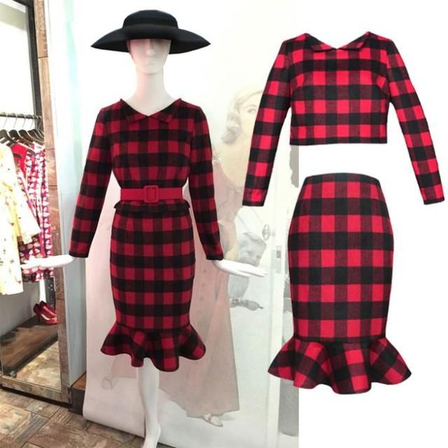 FREE SHIPPING Hepburn style retro plaid long-sleeved two-piece dress winter woolen fragrant Slim long fishtail skirt/women's set