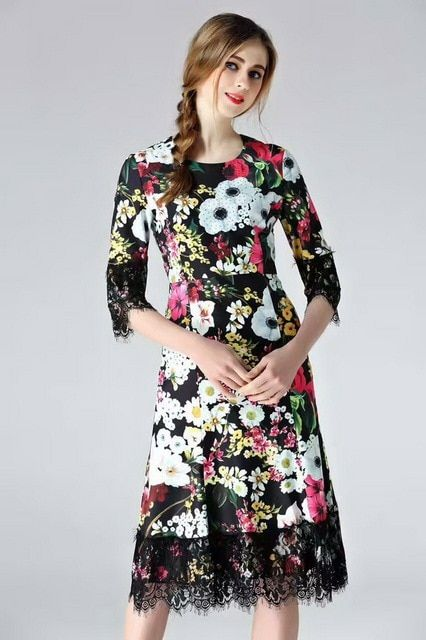 European American Style Dress Summer 2017 Women Vintage Retro Flower Print Lace Beading 3/4 Sleeve Elegant Party Clothing Female