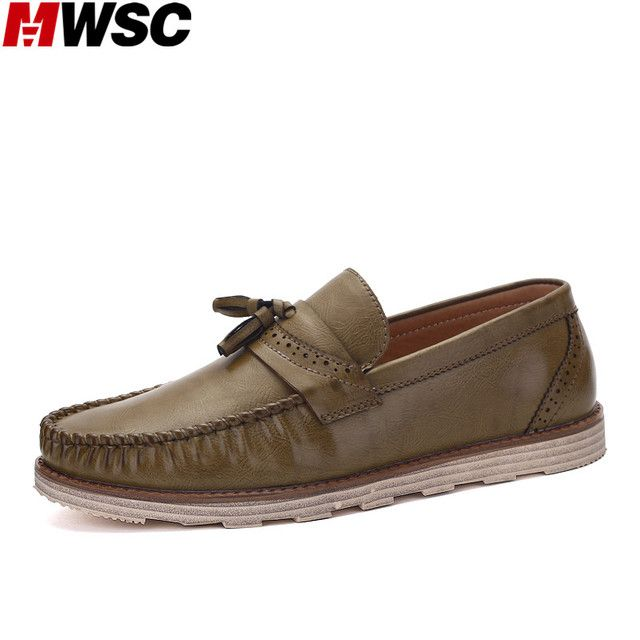 MWSC Man Style Slip-On Brogue Flats Shoes Tassel Decor Male Pure Color Fashion Loafers Mocassin Chaussure Shoes