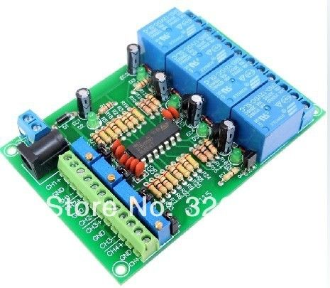 Free Shipping 4-way voltage comparator voltage comparison module 4 channel voltage comparison relay module LM339 LM393