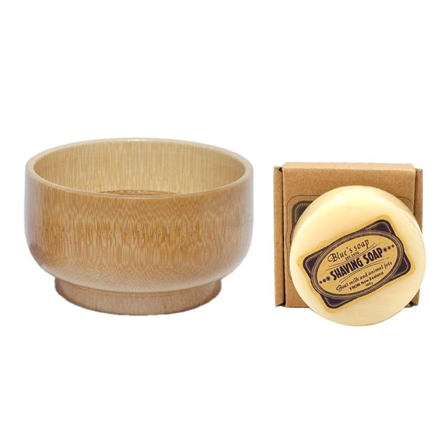 2pc/set Goat Milk Shaving Soap and Bamboo Bowl for Men Beard Shave Tool