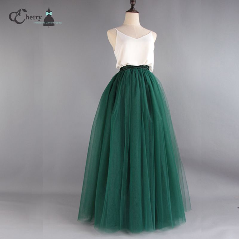 7 Layers High Quality Long Tulle Skirt Women Tutu Maxi Skirt Floor Length Evening Party Festival Fashion Gothic Mint Green Pink