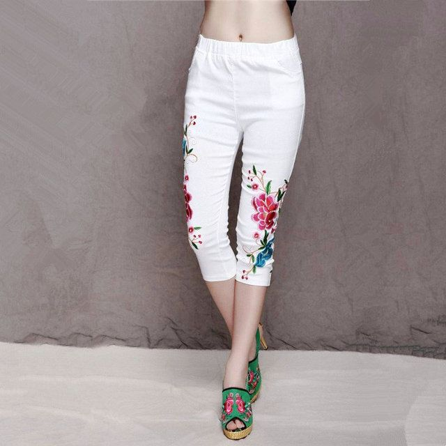 Summer Spring Women's Embroidery Elastic High Waist Capris Pants Casual Skinny Pencil Pants Comfortable Plus Size