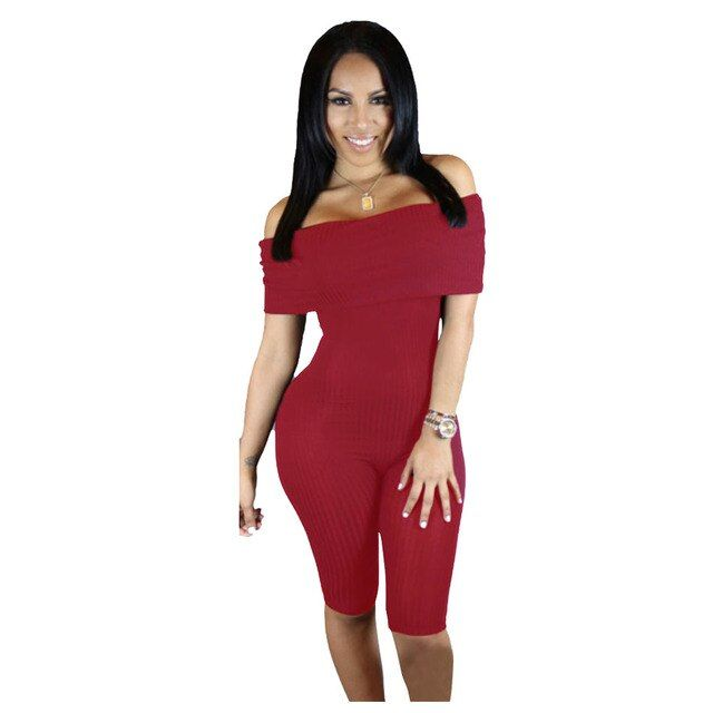 Off Shoulder Knee Length Jumpsuits And Rompers Women Hot Sale Bodycon One Piece Bodysuit Ladies 2016 Summer 3 Color Playsuit