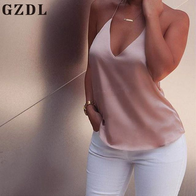 GZDL 2017 New Summer Women Tank Tops Halter V-Neck Sleeveless Backless Camisole Pink Sexy Cool Ladies Vest Top Femininas CL3603