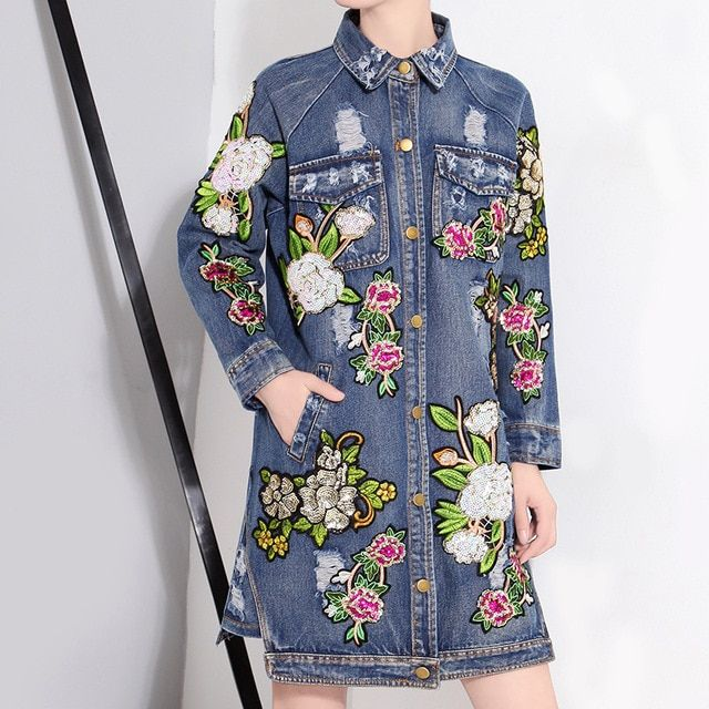 2016 autumn fashion Sequin Flower Jacket Coat Women Long Denim Jacket Coat Women Ripped Vintage Autumn Coats Outwear Casaco